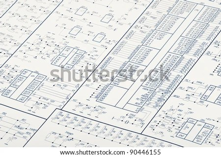 Detailed Drawing Electrical Circuits Stock Photo (Edit Now