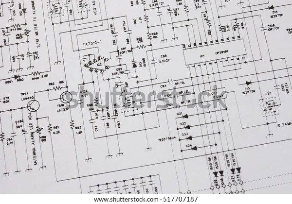 Electronics Engineering Drawing Circuit Schematic Stock