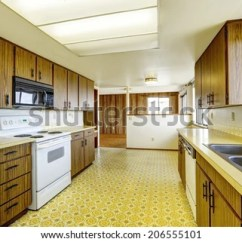 Kitchen Linoleum Gel Pro Mat Empty Room Floor Old Stock Photo Edit Now With Storage Cabinets And White Appliances