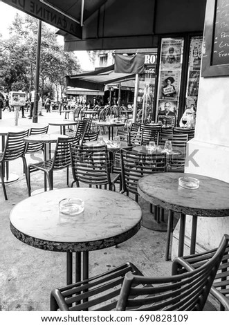 parisian cafe table and chairs chair cover rentals daytona beach fl empty tables street paris stock photo edit now of a in france september