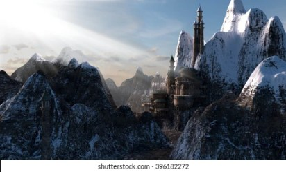 fantasy castle mountains tower snowy shutterstock illustrations vectors broken