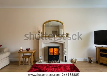living room with log burner paint dark brown furniture fireplace modern stock photo edit now in as central focus