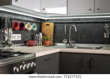 kitchen rail system quartz countertops fragment modern style stock photo edit now a of the with and utensils houseplant