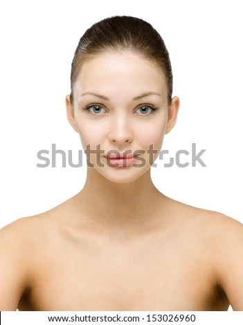 Front View Of Beautiful Naked Girl Isolated On White