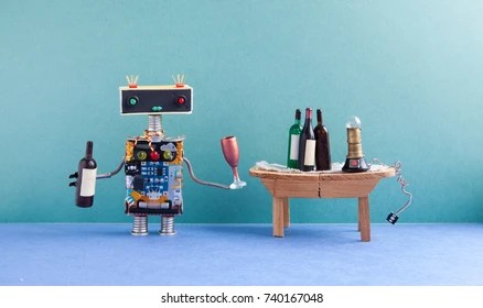 robot drinking images stock