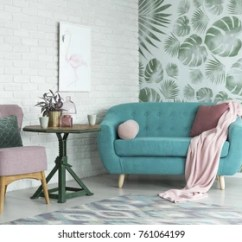 Chair Design Wallpaper Hanging Hammock Images Stock Photos Vectors Shutterstock Green Table With A Plant Between Pink And Blue Sofa In Floral Living Room