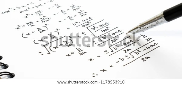 Handwriting Mathematics Quadratic Equation Formula On