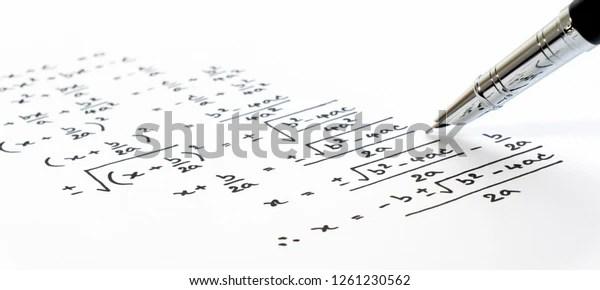 Handwriting Mathematics Quadratic Equation Formula On