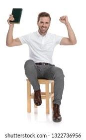 https www shutterstock com fr image photo happy casual man sitting on chair 1322736956