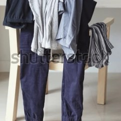 Bedroom Chair For Clothes Desk Explodes Heap Mess On Wooden Stock Photo Edit Now 646867738 Of In The