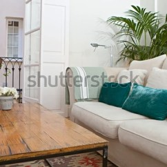 Green Cushions Living Room Big Mirrors Home White Sofa Stock Photo Edit Now 258279509 With And Plants Interior View House