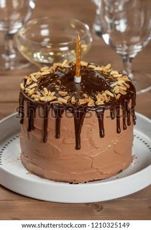 Homebaked Birthday Chocolate Cake Wine Glass Stock Photo Edit Now