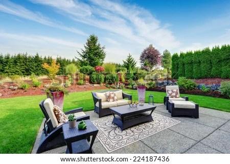 Impressive Backyard Landscape Design Cozy Patio Stock Photo (Edit Now) 224187436 - Shutterstock