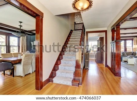 open plan staircase in living room decorating apartment interior hallway hardwood floor stock photo edit now of with and northwest usa