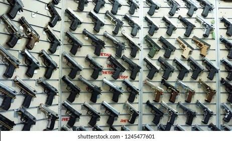 https www shutterstock com image photo istanbulturkey november 2018 showcase gun shop 1245477601