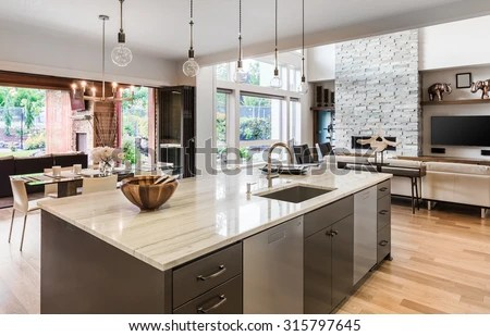 kitchen island with sink prefab cabinets hardwood floors stock photo edit now and in new luxury home