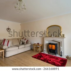 Living Room With Log Burner Furniture Tv Cabinet Modern Stock Photo Edit Now 266168891 In Fireplace As Central Focus