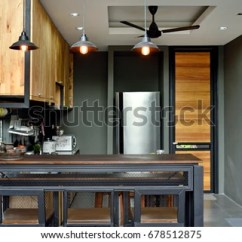 Kitchen Counter Bar Best Mats Loft Steel Wood Stock Photo Edit Now 678512875 And Structure There Are Beautiful Decorative Lamps