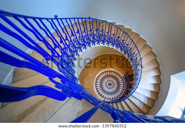 London Uk May 21 2018 Sweeping Stock Photo Edit Now 1397860352   Self Supporting Spiral Staircase   Staircase Design   London Uk   Stair Case   Santa Fe   Risers