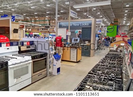 lowes kitchen appliances grey tiles for floor home improvement retail store stock photo edit now peabody massachusetts usa may 5