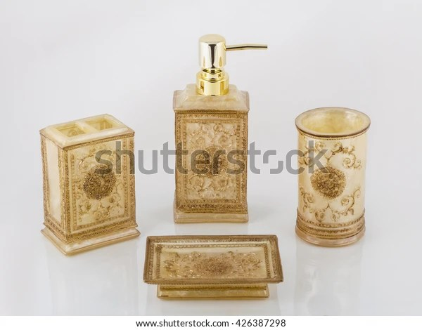 Luxury Gold Bathroom Accessories Reflection On Stock Photo Edit Now 426387298