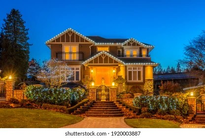 https www shutterstock com image photo luxury house night vancouver canada 1920003887