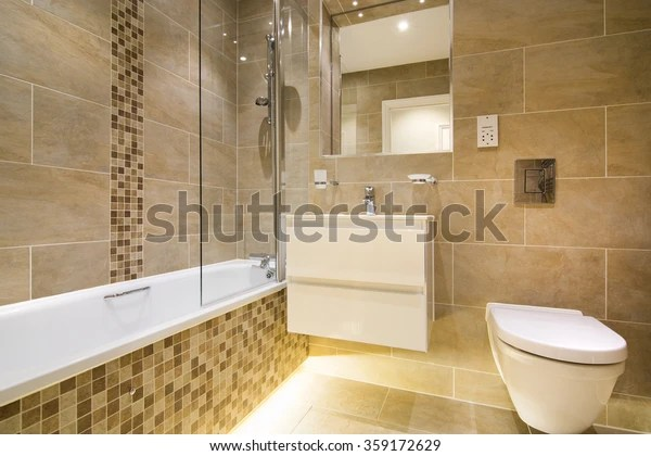 https www shutterstock com fr image photo luxury three piece bathroom beige brown 359172629