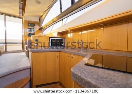 traveling kitchen decor grapes luxury interior modern motor stock photo edit now of yacht