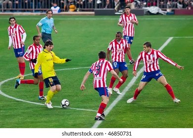 Barcelona Player Lionel Messi Th L Tries To