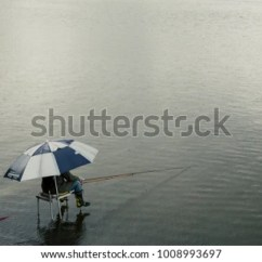 Fishing Chair Rain Cover Portable Folding For Elderly Man Alone Beside Lake Stock Photo Edit Now 1008993697 A Is In The With His And