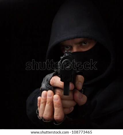 Masked Robber Gun Aiming Into Camera Stock Photo (Edit Now) 108773465 - Shutterstock