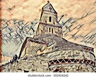 medieval church graphic shutterstock vectors monks