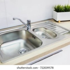 New Kitchen Sink 33 X 22 Images Stock Photos Vectors Shutterstock A Metal Faucet With In The
