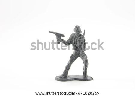 Miniature Toy Plastic Soldiers Fighting Terrorists Stock