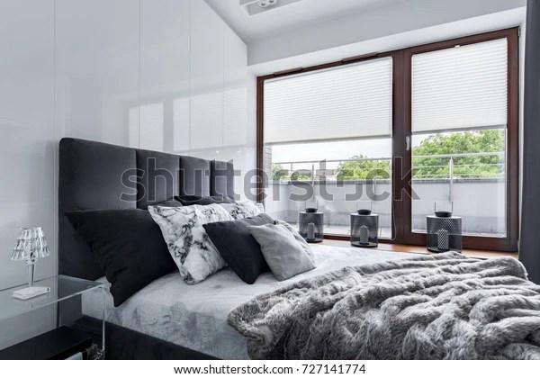 https www shutterstock com fr image photo modern bedroom double bed high gloss 727141774