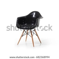 Black Plastic Chair With Wooden Legs Swivel Chairs Joss And Main Modern Stock Photo Edit Now