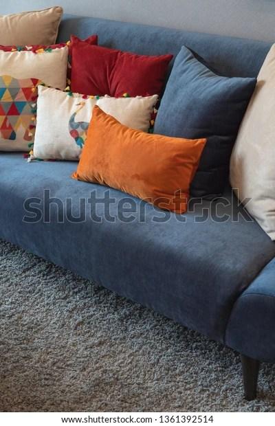 https www shutterstock com image photo modern blue sofa colorful pillows cozy 1361392514