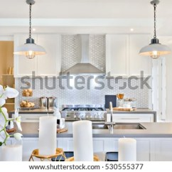 Kitchen Candles Cleaner Modern White Flowers Beside Stock Photo Edit Now With And Counter Top Including Tap Sink There