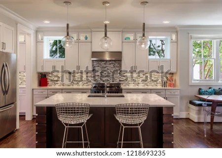 modern kitchen nook portable islands lights on stock photo edit now 1218693235 with a are