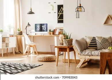 modern living room wooden furniture large framed wall art for images stock photos vectors shutterstock loft interior full of natural and accessories with desk computer white