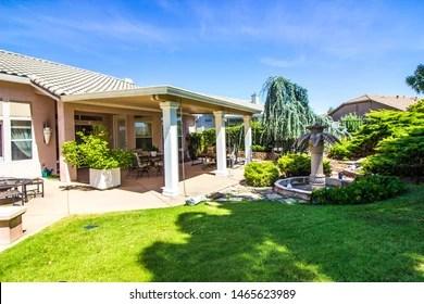 https www shutterstock com image photo modern rear yard paqtio setting fountain 1465623989