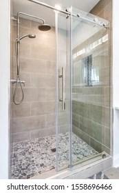 https www shutterstock com image photo modern shower stone floor chrome fixtures 1558696466
