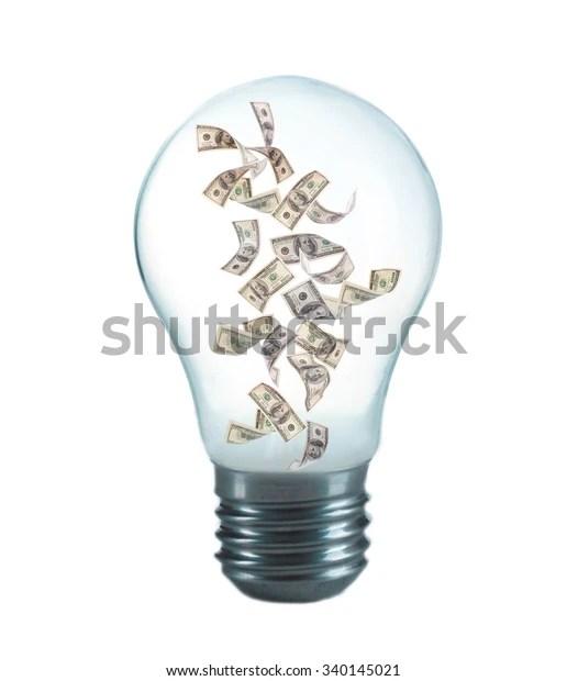 money inside light bulb