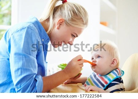 Mother Feeding Baby Boy High Chair Stock Photo (Edit Now) 177222584 - Shutterstock