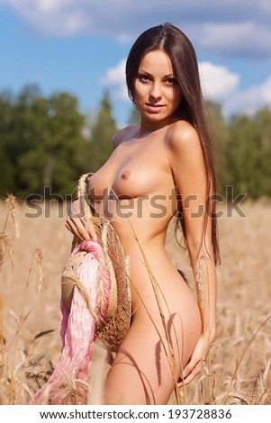 Naked Girl On The Field Nude Woman In Nature