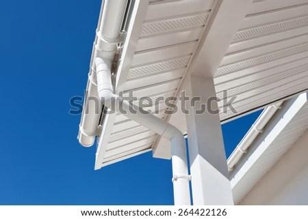 New Rain Gutter On Home Against Stock Photo (Edit Now) 264422126 - Shutterstock