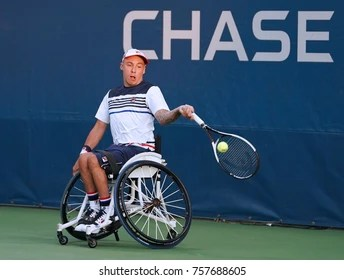 wheelchair quad orange leather parsons chair new york september 7 2017 stock photo edit now tennis player andrew lapthorne of great britain