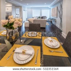 Photos Of Nicely Decorated Living Rooms Large Canvas Pictures For Room Served Dining Lunch Stock Photo Edit Now And Table With Family The Kitchen At