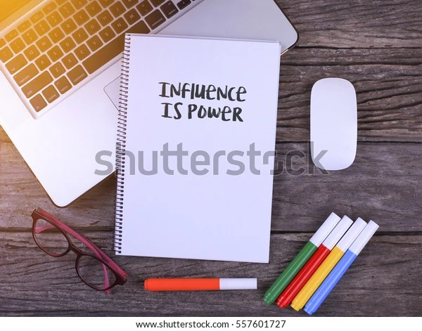Notebook writing Influence Is Power, Office table with laptop ,coffee cup,glasses