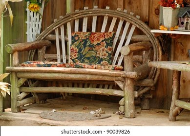 https www shutterstock com image photo old bench made tree branches 90039826